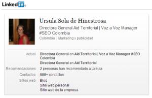 Ursula Sola de Hinestrosa en Linkedin